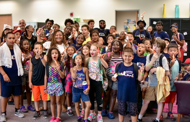 SIF Coworking organization, Boston Explorers, brings their summer camp student in to the SIF offices for a popsicle break.