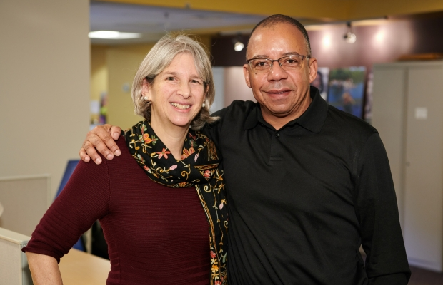 Susan Musinsky and Mark Watson at the SIF Open House, November 29, 2018
